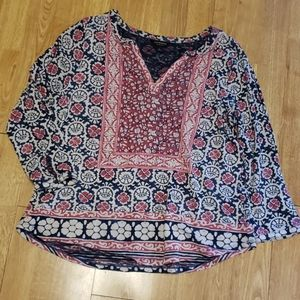 Lucky Brand patterned boho tunic top sz L